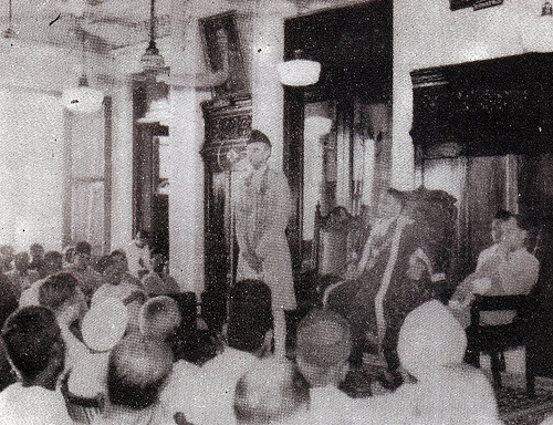 Quaid-e-Azam addressing the party workers in Madras